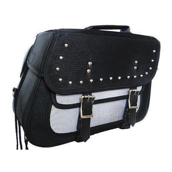 Vance VS261 Black Studded Textile Motorcycle Saddlebags for Honda Yamaha Kawasaki Indian and Harley Davidson Motorcycles-Grey
