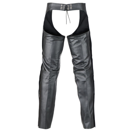 Deep Pocket Motorcycle Leather Chaps - Back View
