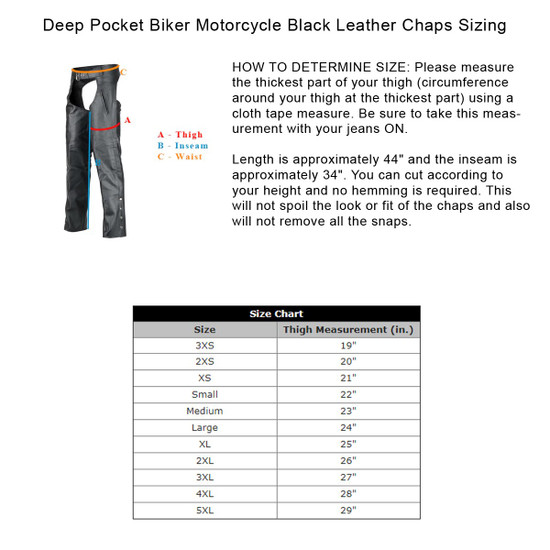 Deep Pocket Biker Motorcycle Black Leather Chaps - Size Chart