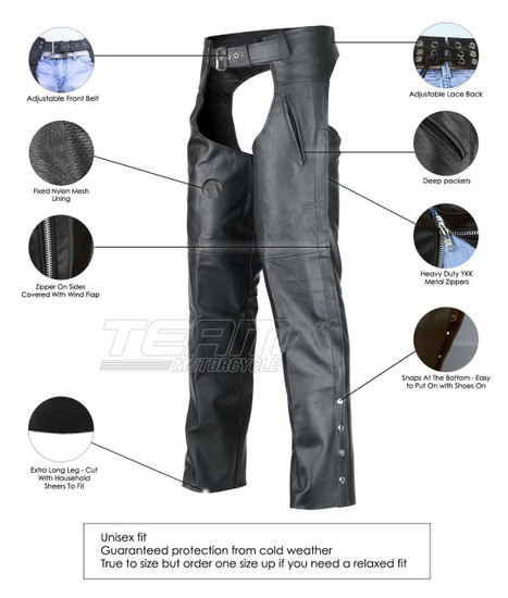 Deep Pocket Motorcycle Leather Chaps - Info