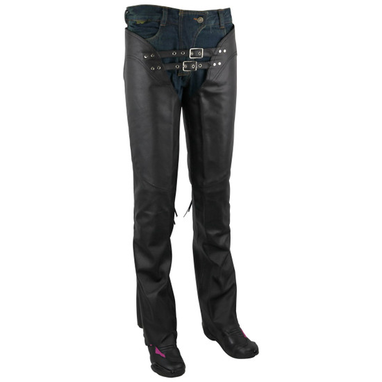 Jafrum LC302 Womens Black Premium Cowhide Low Rise Lady Biker Motorcycle Riding Leather Chaps - Front View