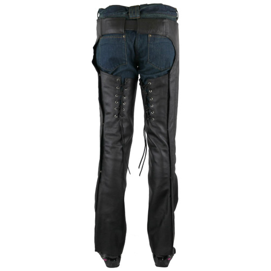 Jafrum LC302 Womens Black Premium Cowhide Low Rise Lady Biker Motorcycle Riding Leather Chaps - Back View