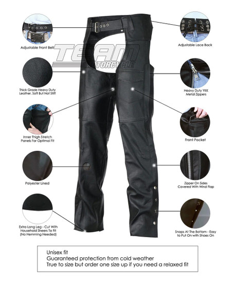 Vance Leather VL801S Mens and Womens Black Leather Biker Motorcycle Riding Chaps