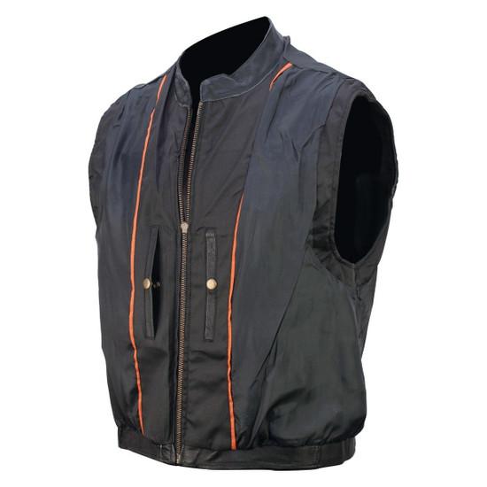 Vance VL935 Men's Black Reflective Skull Premium Cowhide Leather Biker Motorcycle Vest - Inner View