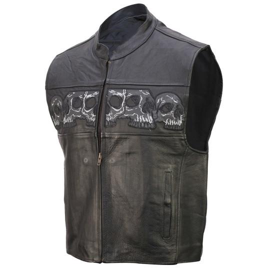 Vance VL935 Men's Black Reflective Skull Premium Cowhide Leather Biker Motorcycle Vest