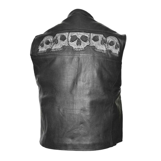 Vance VL935 Men's Black Reflective Skull Premium Cowhide Leather Biker Motorcycle Vest - Back View