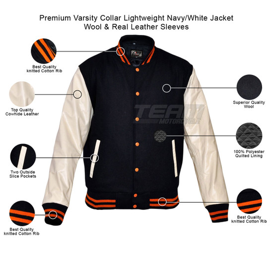 Mens MJ591NW Navy/White Lightweight Wool with Real Leather Premium Varsity Letterman Jacket - Infographics