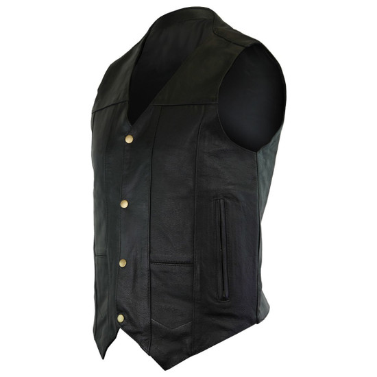 Vance VL917 Men's Black Premium Cowhide Leather Plain Side Biker Motorcycle Vest
