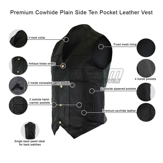 Vance VL917 Men's Black Premium Cowhide Leather Plain Side Biker Motorcycle Vest - Infographics