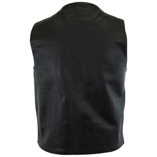 Vance VL917 Men's Black Premium Cowhide Leather Plain Side Biker Motorcycle Vest - Back View
