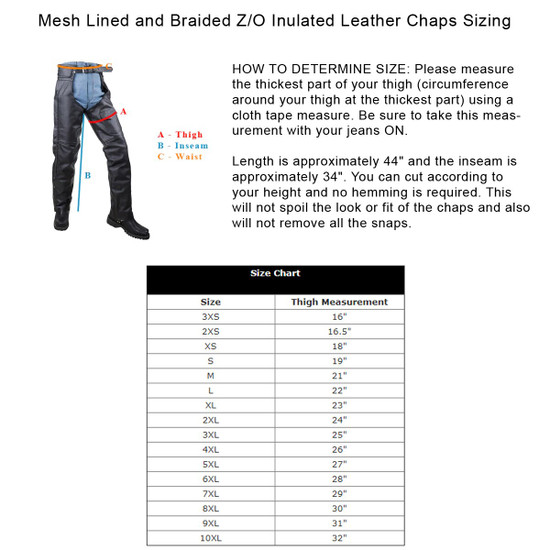 Vance Leather VL802S Mens and Womens All Season Black Zip-out Insulated Thermal Liner Braided Biker Leather Motorcycle Chaps