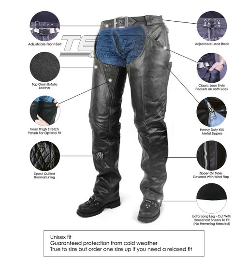 Vance Leather VL806S Mens and Womens All Season Black Zip-out Insulated Pants Style Biker Leather Motorcycle Chaps - Infographics