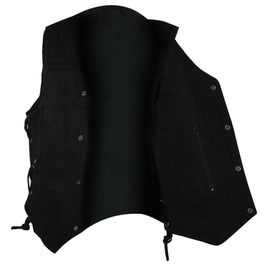 Vance VB915BK Mens Black Ten Pocket Denim Motorcycle Vest - Open View