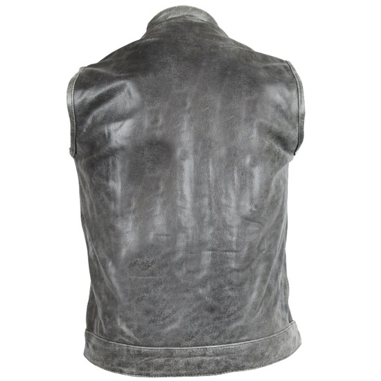 High Mileage HMM914DG Mens Premium Cowhide Distressed Gray SOA Style Biker Club Leather Motorcycle Vest - Back View