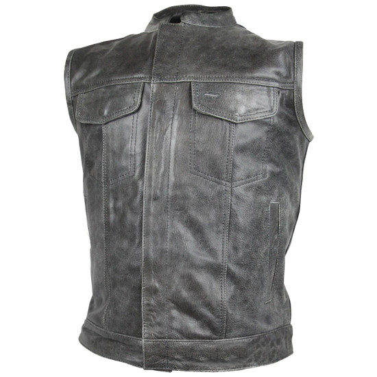 High Mileage HMM914DG Mens Premium Cowhide Distressed Gray SOA Style Biker Club Leather Motorcycle Vest