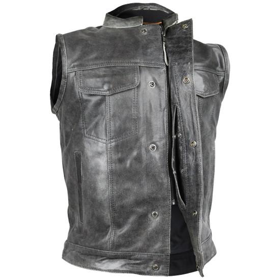 High Mileage HMM914DG Mens Premium Cowhide Distressed Gray SOA Style Biker Club Leather Motorcycle Vest - Front Zipper