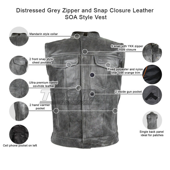 Distressed Grey Zipper and Snap Closure Leather SOA Style Vest - Infographics