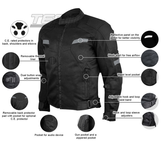 Advanced Vance VL1622B Mens All Weather Season CE Armor Mesh Motorcycle Jacket - Infographics
