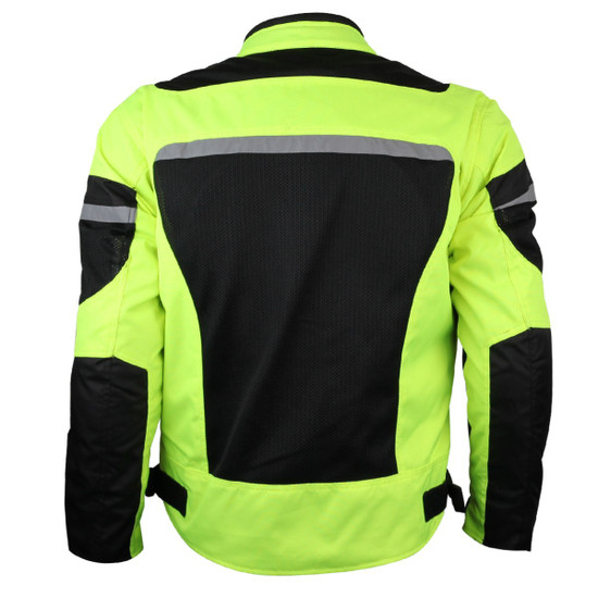 Advanced Vance VL1624HG Mens All Weather Season CE Armor Mesh Motorcycle Jacket - Back View