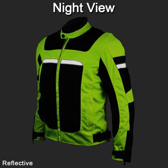 Advanced Vance VL1624HG Mens All Weather Season CE Armor Mesh Motorcycle Jacket - Night Reflective