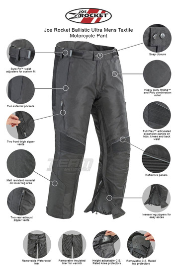 Joe Rocket Ballistic Ultra Mens Textile Motorcycle Pant - Infographics
