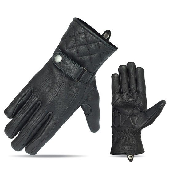 Vance VL467 Mens Black Snap Cuff Premium Leather Driving Gloves