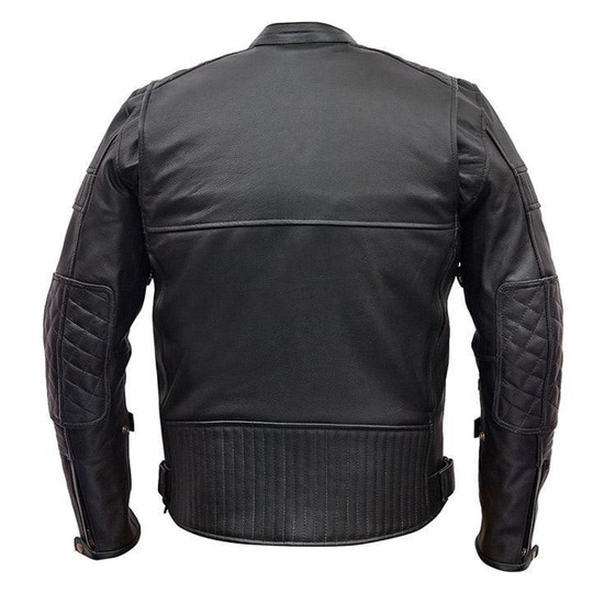 Vance VL513 Men's Quilted Pattern Vented Black Cowhide Leather Biker Motorcycle Scooter Jacket
