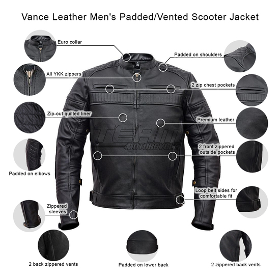 Vance VL513 Men's Quilted Pattern Vented Black Cowhide Leather Biker Motorcycle Scooter Jacket  -Infographics