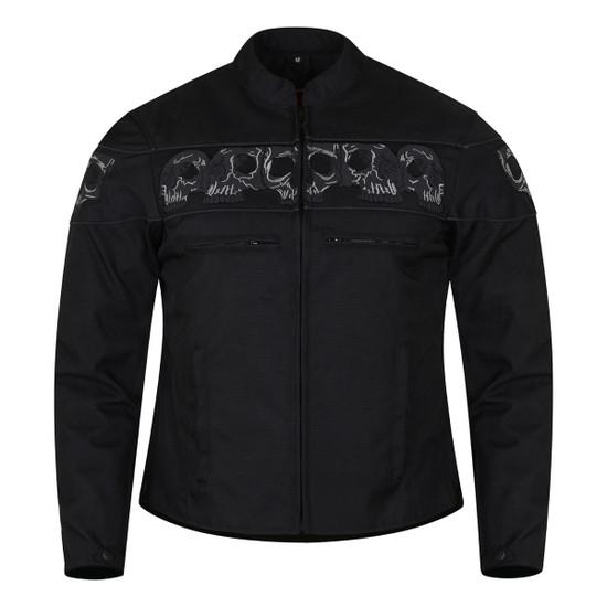 High Mileage HMM1535 Men's Concealed Carry Black Reflective Skulls Textile Motorcycle Jacket