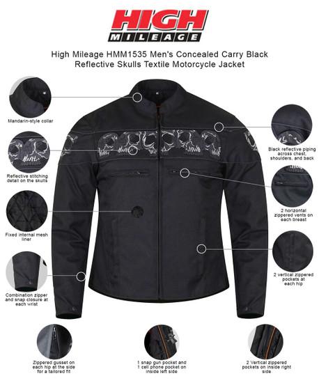 High Mileage HMM1535 Men's Concealed Carry Black Reflective Skulls Textile Motorcycle Jacket -  Infgraphics