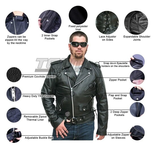 Vance VL515S Mens Conceal Carry Zip-out Insulated Liner and Side Laces Classic MC Motorcycle Biker Black Leather Jacket - Infographics