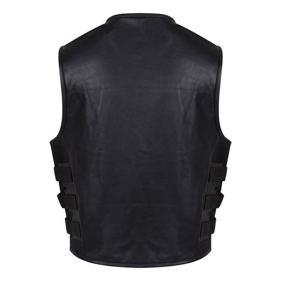Vance VL904 Mens Black SWAT Team Style Premium Cowhide Biker Motorcycle Leather Vest - Back View