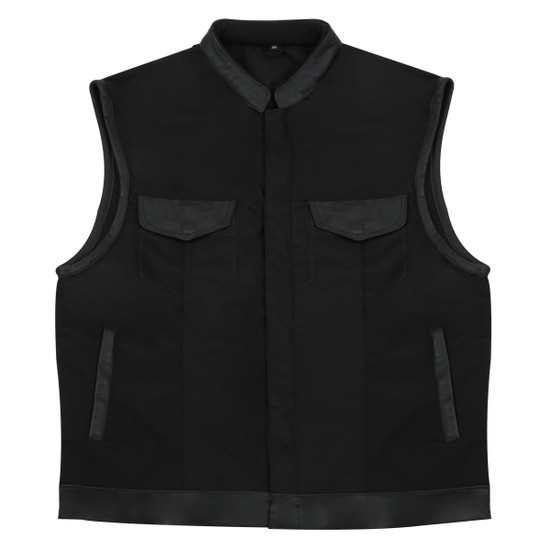 MV720Matt Mens Black SOA Club Style Textile Motorcycle Vest