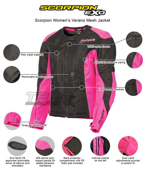 Scorpion Women's Verano Mesh Jacket  - Infographics