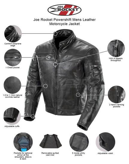 Joe Rocket Powershift Mens Leather Motorcycle Jacket - Infographics