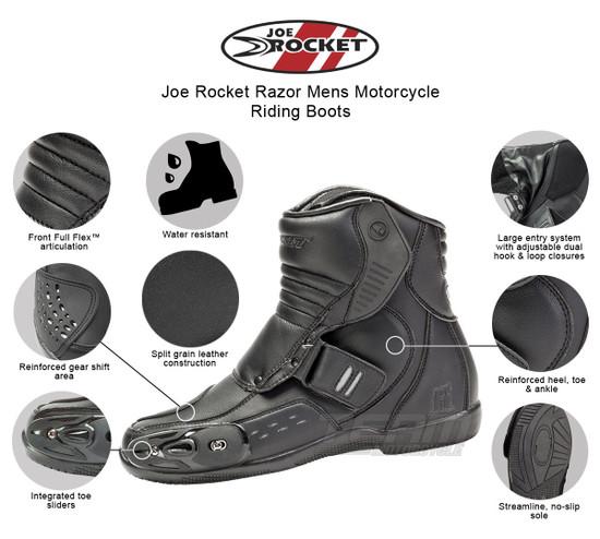 Joe Rocket Razor Mens Motorcycle Riding Boots - Infographics