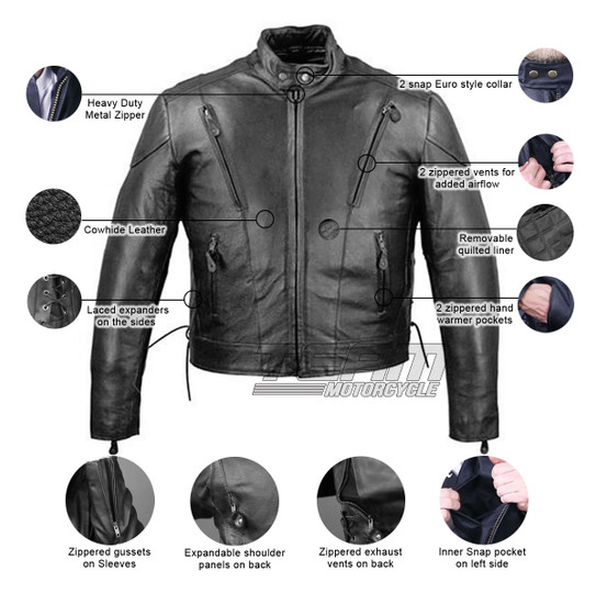 Vance MJ470 Tall Size Black Cowhide Biker Leather Motorcycle Scooter Jacket - Infographics