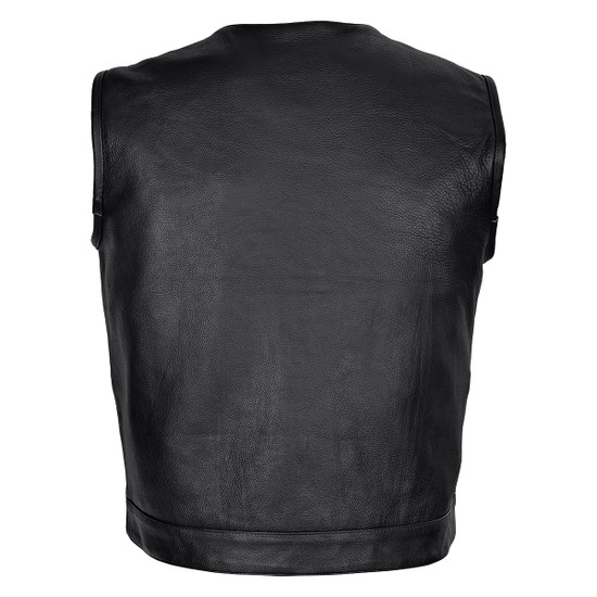 Vance VL919BP Men's Black Premium Cowhide Leather Biker Motorcycle Vest With Quick Access Conceal Carry Pockets and Paisley Liner - Back View
