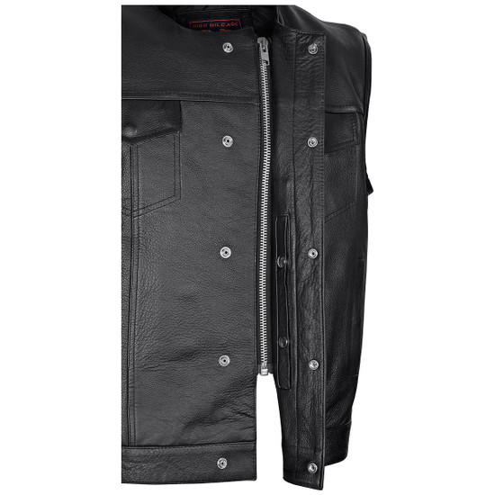Vance VL919BP Men's Black Premium Cowhide Leather Biker Motorcycle Vest With Quick Access Conceal Carry Pockets and Paisley Liner - Detail View