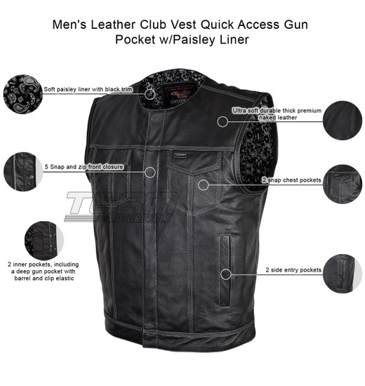 Vance VL919BP Men's Black Premium Cowhide Leather Biker Motorcycle Vest With Quick Access Conceal Carry Pockets and Paisley Liner- Infographics