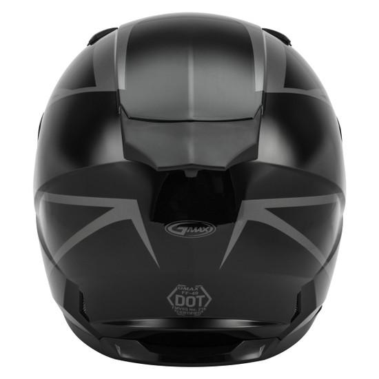 GMax FF-49 Deflect Helmet - Black/Grey Back View