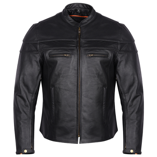 Mens VL531 Leather Motorcycle Jacket - Front View