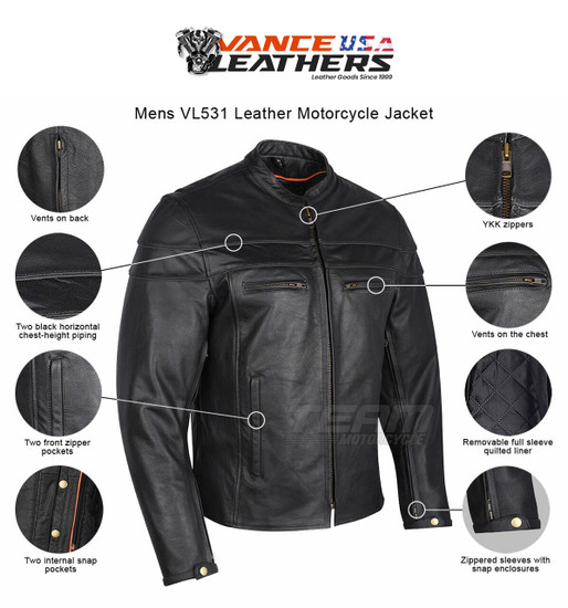 Mens VL531 Leather Motorcycle Jacket - Infographics