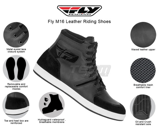 Fly M16 Leather Riding Shoes - Infographics