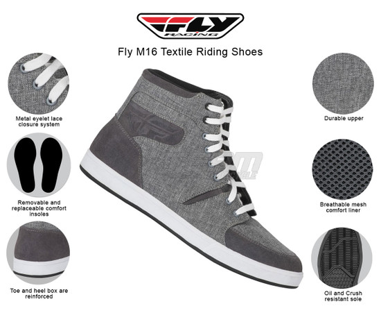 Fly M16 Textile Riding Shoes - Infographics