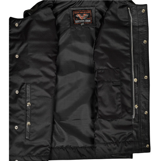 Men's Leather Club Vest with Quick Access Conceal Carry Pocket