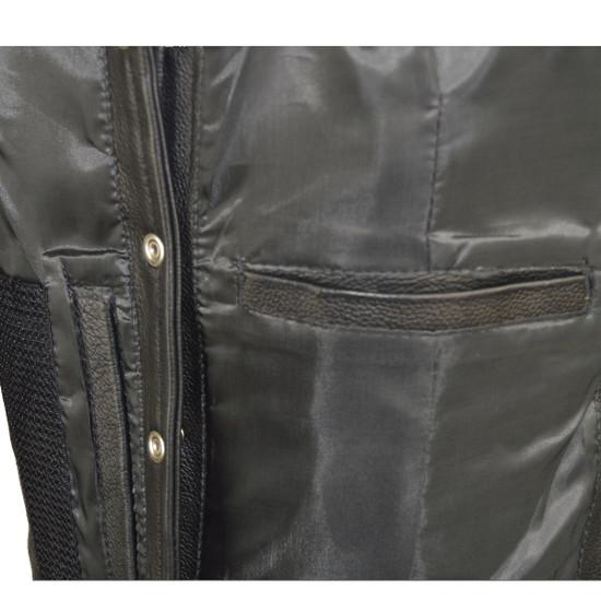 Vance VL1040 Womens Black Lady Biker Leather Motorcycle Vest - Detail View