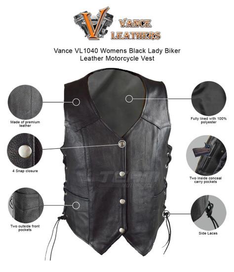Vance VL1040 Womens Black Lady Biker Leather Motorcycle Vest - Infographics