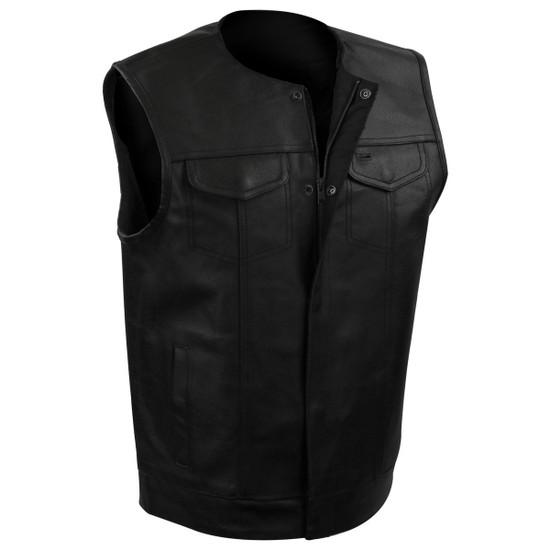 Vance MV122 Mens Black Collarless SOA Style Snap/Zip Front Leather Motorcycle Vest