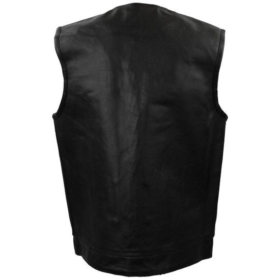 Vance MV122 Mens Black Collarless SOA Style Snap/Zip Front Leather Motorcycle Vest -Back View